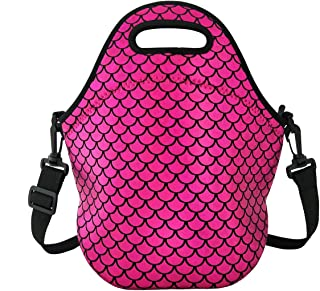 Insulated Lunch Bag, Neoprene Shoulder Lunch Tote Boxes Bags for Women Men Kids Work Office Outdoor Picnic Travel, Mermaid Scale (Purple)