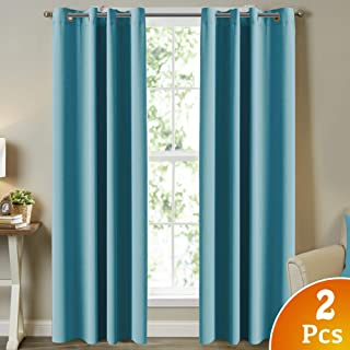 Living Room Blackout Curtains Three Pass Microfiber Noise Reducing 84 Inch Length Room Darkening Drapes for Bedroom, Energy Saving Window Treatment Panels for Living Room, Aqua, 2 Panel, 52 by 84 Inch