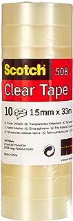 Scotch Ruban Adhésif Transparent 508 - 10 Rouleaux - 15mm x 33m - Ruban Adhésif Transparent à Usage Général pour l'Ecole, ...