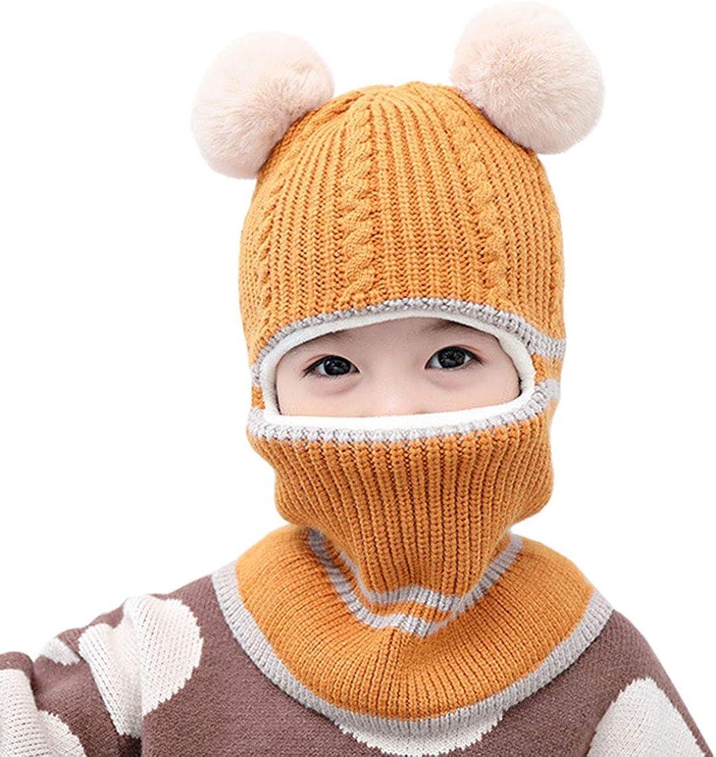 YONKINY Bambino Passamontagna Cappello Invernali Caldo 2 in 1 Cappello Sciarpa Set Cappuccio Berretto Bimbo