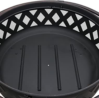 Sunnydaze Crossweave Outdoor Fire Pit - 36 Inch Large Bonfire Wood Burning Patio & Backyard Firepit for Outside with Spar