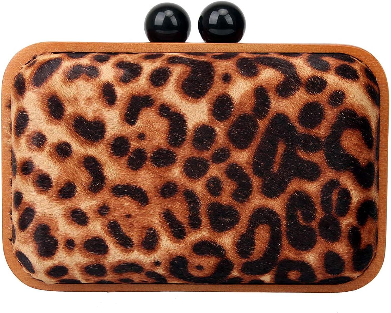 Bonjanvye Leopard Wood Frame Evening Clutch Purses for Women