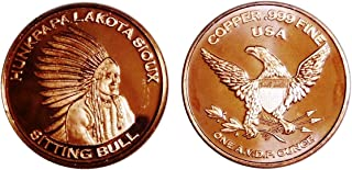 1 Oz Copper Round Sitting Bull Design