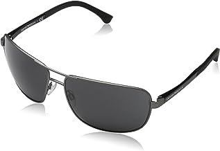 Emporio Armani EA2033 313087 Gunmetal EA2033 Square Pilot Sunglasses Lens Categ, 64mm