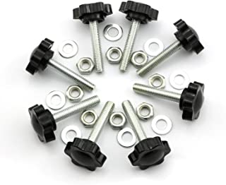 8 Set M630 Thumb Screw Plastic Plum Blossom Shape Head Threaded Knurled Grip Knobs Clamping Screw with Nut Washer