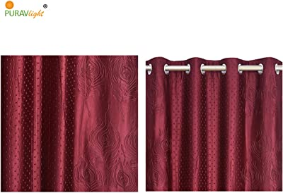 Purav Light Curtain for Door 7 Feet, Set of 2 Piece, Punching Mor Pankh (Peacock Feather) Design, Blackout Room Darkening Blackout Polyester Eyelet Panels - Maroon