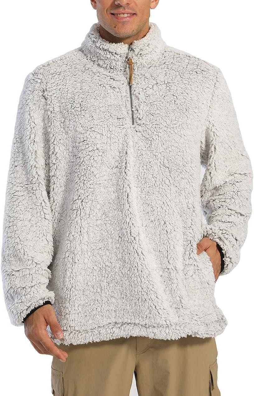 EKLENTSON Mens Quarter-Zip Pullover Sherpa Fall Winter Fleece Sweater Sherpa Coat with Pocket