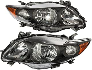 MILLION PARTS Pair Front Headlight Assembly fit for 2009 2010 Toyota Corolla Left Right Side Replacement Headlamps Driving Light Black Housing Clear Lens