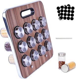 Amzeeniu Présentoir à Épices -12 Pots Verre, Portable Porte-épices,Étagère à épices debout, Pour Rangement Epices Cuisine,...