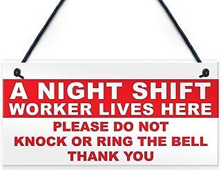 """XLD Store Night Shift Worker Do Not Disturb Hanging Plaque Keep Quiet Plastic Door Sign 5"""" x 10"""""""