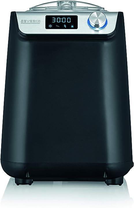 Gelatiera compatta autorefrigerante 2 in 1, timer digitale severin ez 7407 135 w, 1.2 litri, acciaio inox