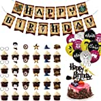 Harr_y Potter Party Supplies Happy Birthday Decoration Kit,Balloon Cake Topper Banner Cupcake Toppers for Kids