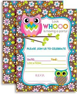 Owl Themed Birthday Party Celebration Invitations 20 5
