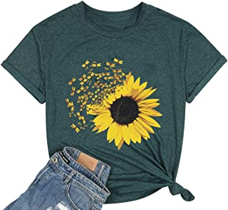 MNLYBABY Womens Sunflower T-Shirt Cute Dragonfly O-Neck Short Sleeve Solid Color Tee Tops