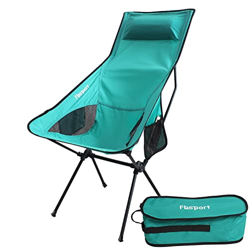 FBSPORT Lightweight Folding Camping Backpack Chair, Compact & Heavy Duty Portable Chairs for Hiking Picnic Beach Camp Backpacking Outdoor Festivals (Lounge Chair -Teal)