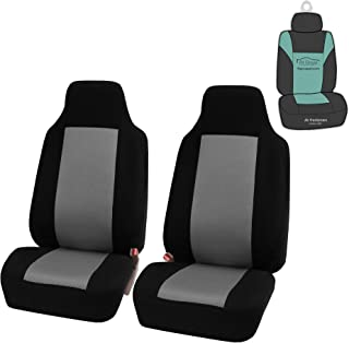 FH Group FB102102 Classic Cloth Car Pair Set High Back Seat Covers w. Gift, Gray/Black- Fit Most Car, Truck, SUV, or Van