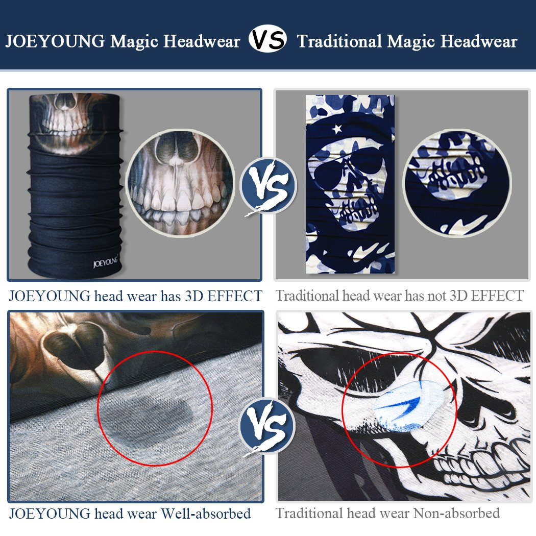 UV Protection Motorcycling JOEYOUNG 3D Face Sun Mask Running Magic Scarf Hunting Headwear Neck Gaiter Hiking Great for Men /& Women Headband Fishing Balaclava Bandana