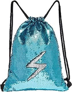 MHJY Sequin Bag Mermaid Drawstring Backpack Sports Beach Dance Bag (Lake Blue/Sliver)