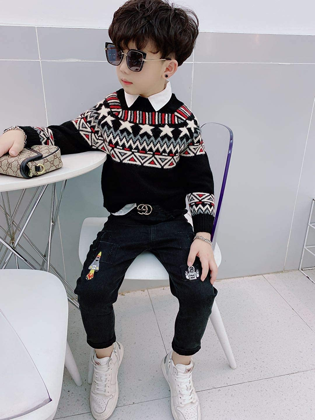 None//Brand Kids Boys Pullover Sweater Cashmere Long Sleeves Sweater Warm Cashmere for Children