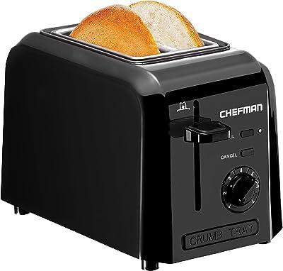 Tostadora Chefman, 2 ranuras extra anchas para tostar panecillos, gofres o incluso el más fino de los panes, siete configuraciones de sombra para la rebanada perfecta de tostadas - RJ31-P2- Black