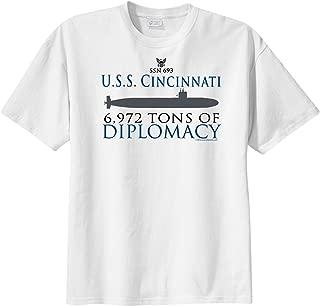 ShipShirts Big Boy's SSN 693 USS Cincinnati 6,927 tons tons of Diplomacy Short Sleeve T-Shirt