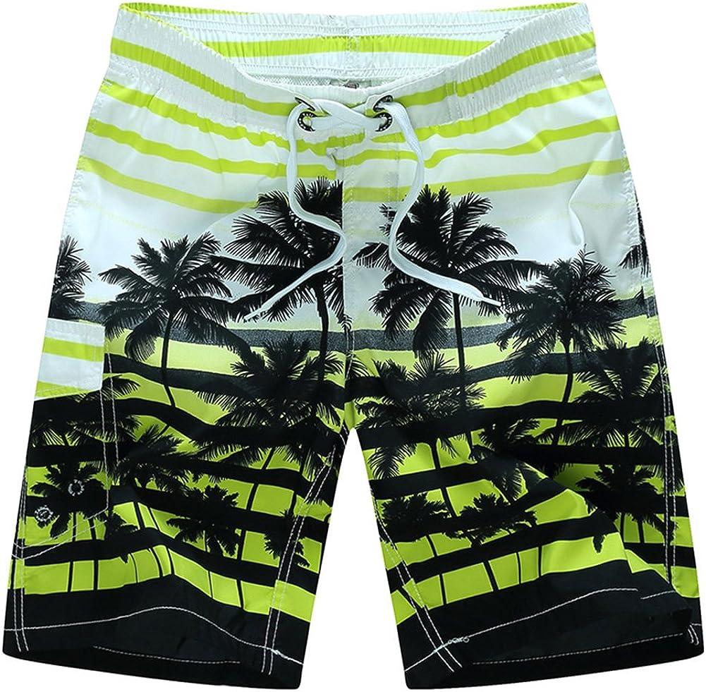 Kolongvangie Men's Casual Coconut Tree Print Beach Boardshorts Quick Dry Swim Trunks with Mesh Lining