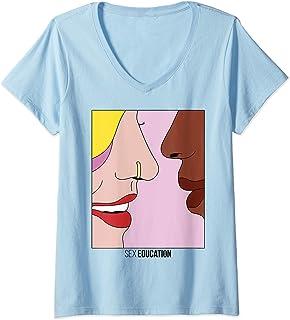 Femme Sex Education Maeve & Eric Whisper Poster T-Shirt avec Col en V