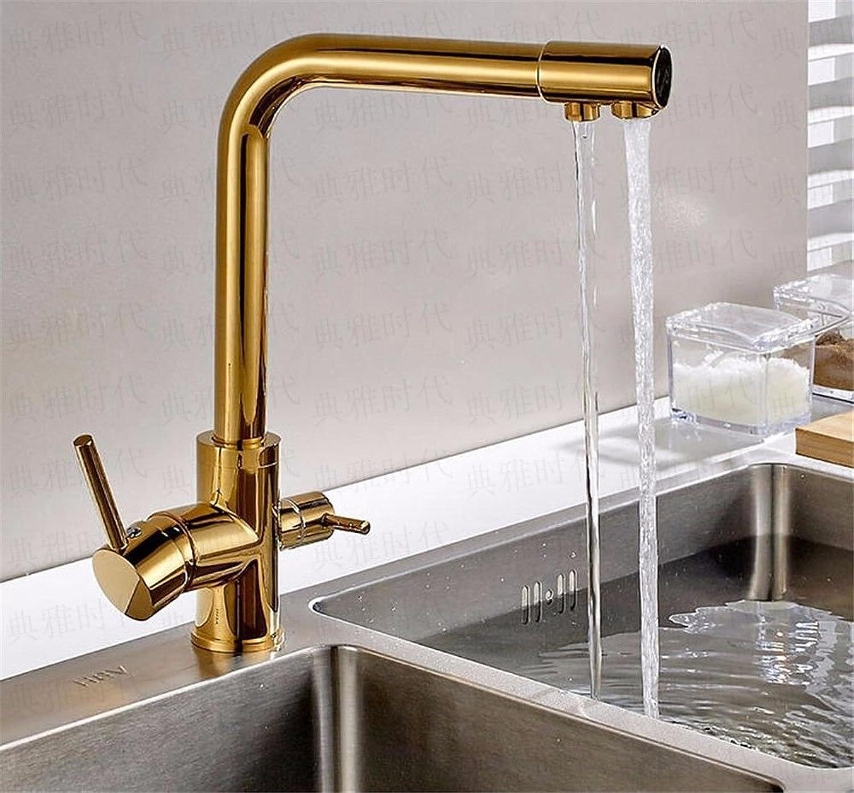 Gyps Faucet Waschtisch-Einhebelmischer Waschtischarmatur BadarmaturDie Küche Coole Retro wei Schwarz Reines Trinkwasser direkt Gold-Kupfer Küche Wasserhahn Wasseraufbereiter Gold