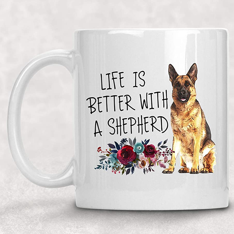 Life is Better with German Shepherd Watercolor Mug Dog Lover Coffee Cup