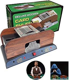 2 Deck Wooden Card Shuffler,Deluxe Electronic Shufflers Machine,Portable Casino Automatic Poker Shuffling, Playing Classic...