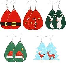 TOYANDONA 5 Pairs Christmas Faux Leather Earrings Winter Holiday Teardrop Dangle Earrings Xmas Tree Drop Earrings Xmas Jew...