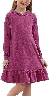 GORLYA Girls Raglan Long Sleeve Ruffle Hem Casual Sweatshirt Hooded Shift Dress for 4-14T Kids