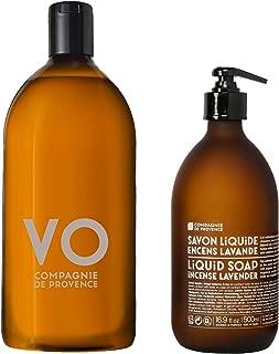 Compagnie de Provence Savon de Marseille Extra Pure Liquid Soap - Incense Lavender - 16.9 Fl Oz Glass Pump Bottle and 33.8 fl oz Plastic Bottle Refill