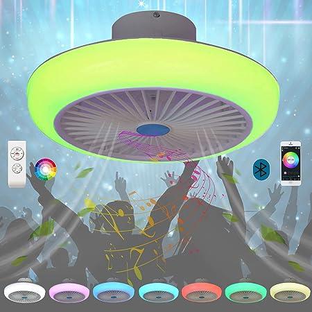 Luminaire Plafonnier LED Plat Bluetooth Couleur Haut Parleur Musique RGB Rond Éclairage Lustre Ventilateur Plafond avec Lumiere Lampe Intégrée Silencieux Telecommande Chambre Salon Ventilateur Design