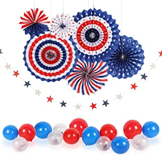 4th/Fourth of July Patriotic Decorations - Star Latex Balloons Party Supplies,Red White Blue Hanging Paper Fans,Star Streamers Patriotic, Independence Day Party Decor Supplies