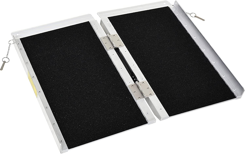 HOMCOM Max 76% OFF Aluminum Portable Ranking TOP6 Skidproof Folding PVC Wheelcha Carpeted
