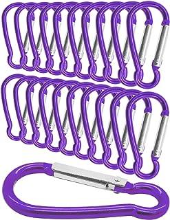 Outdoor Saxx® 20 unidades Mini Mosquetón, mosquetón de aluminio, mosquetón en S, mosquetón para fijación de equipos en la mochila, cinturón, tienda, canoa, 5,8 cm, 20 unidades, color lila, violeta