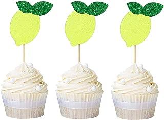 Newqueen 24 Pack Lemon Dessert Cupcake Toppers Glitter Summer Fruit Theme Birthday Party Cake Decoration Picks