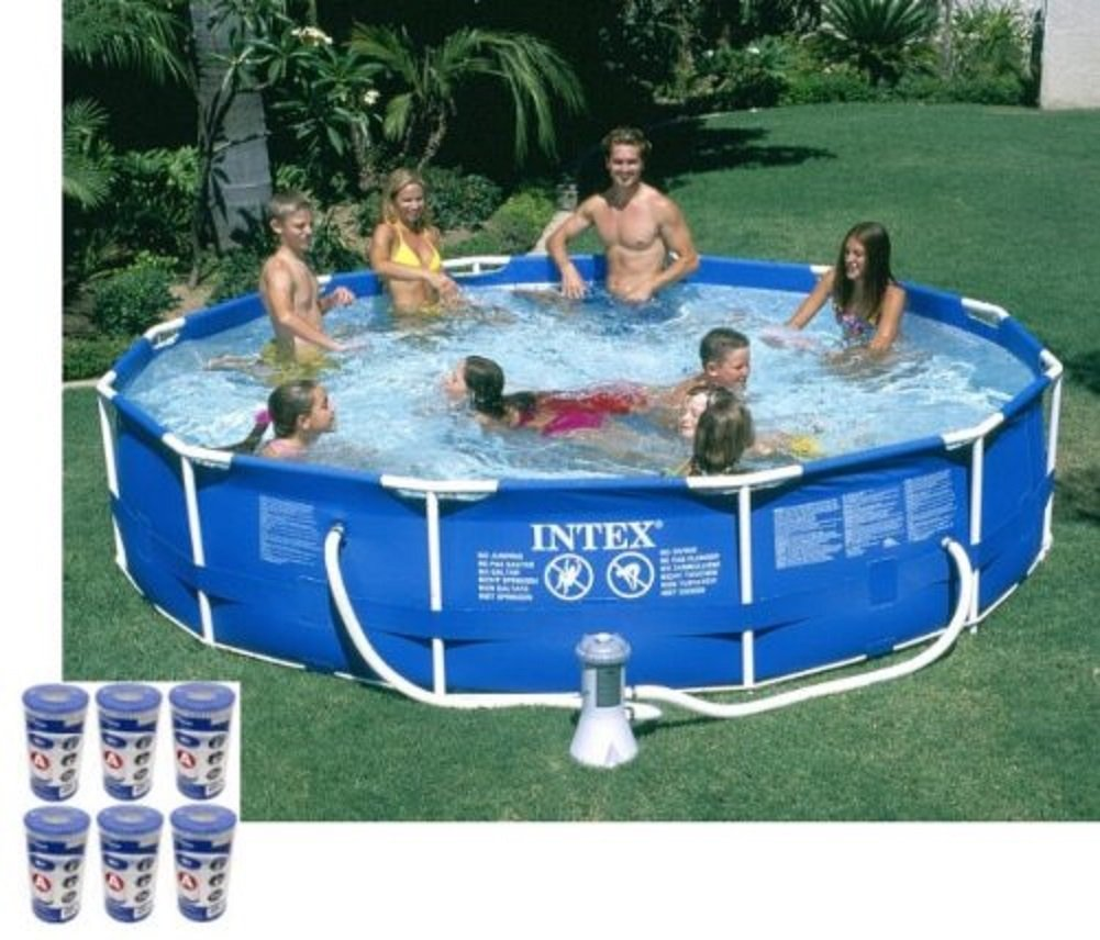 Amazon Com Intex 12ft X 30in Metal Frame Round Swimming Pool Set 530 Gph Pump 6 A Filters Garden Outdoor