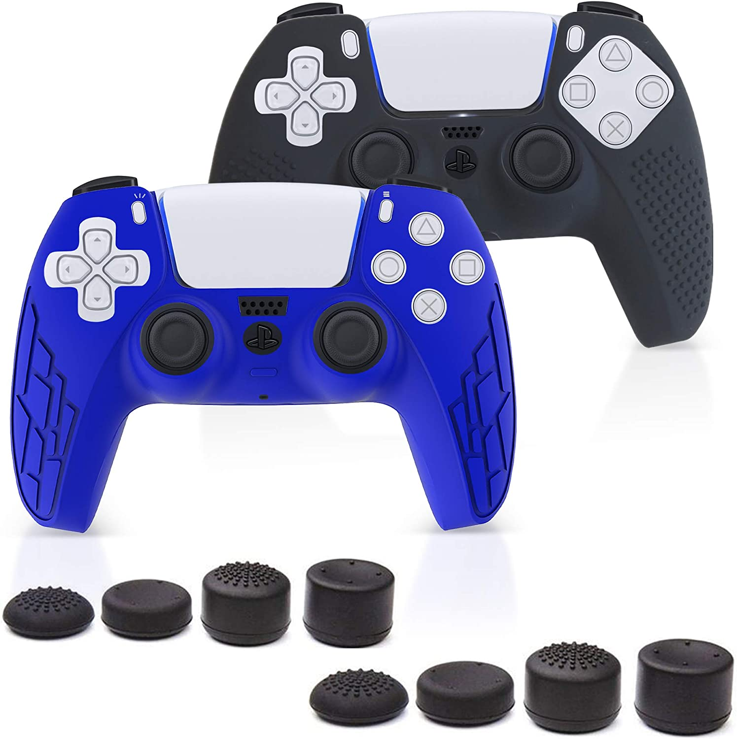 PS5 Silicone Controller Skin – Premium Controllers Skin Grip Compatible with PS5 – Anti-Slip Silicone Cover Protectors (2 Pack) – Different Texture + 8 Thumbs Controller Grips (Blue/Black)