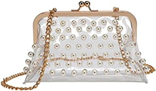 Women Girls Clear Beaded Messenger Shoulder Cross Bags Purses Kiss Lock See Through Clutch Handbags