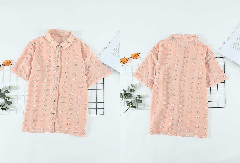 Sidefeel Womens V Neck Chiffon Blouse Pom Pom Long Sleeve Button Shirt Tops