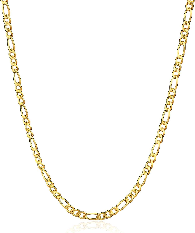 Barzel 18K Gold Plated Figaro Chain Necklace 2MM, 2.5MM, 3MM, 4MM, 4.5MM & 5MM for Women & Men