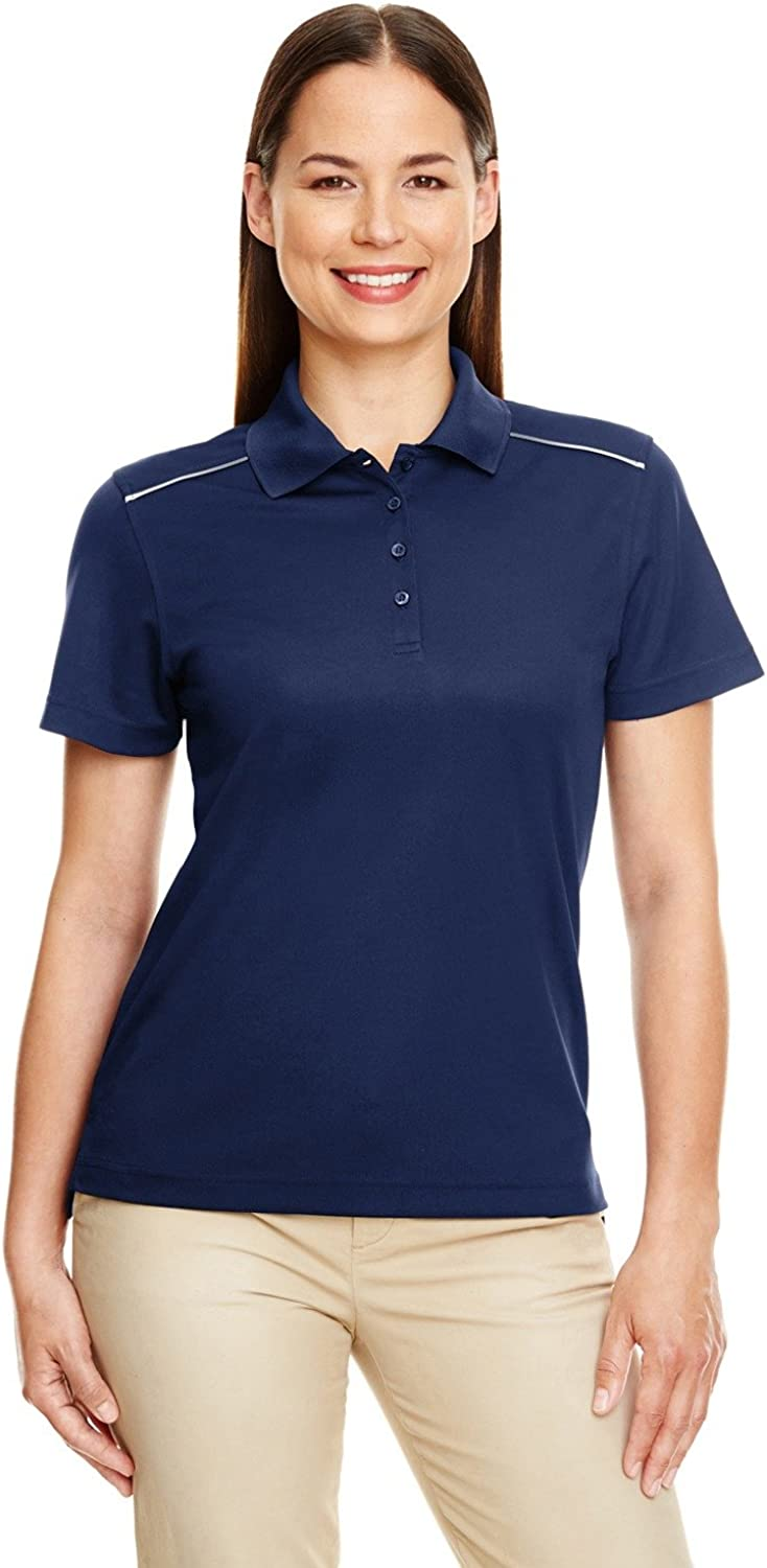 Ash City Ladies' Radiant Performance Piqu? Polo with Reflective Piping Classic Navy 849