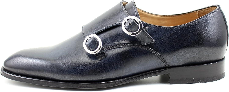 Giorgio Rea Man Man Man skor blå Elegant Double Monk Strap Lace UPS Handgjorda skor i Italien Genuine Calfskin Monk Strap Buckle  Lagra