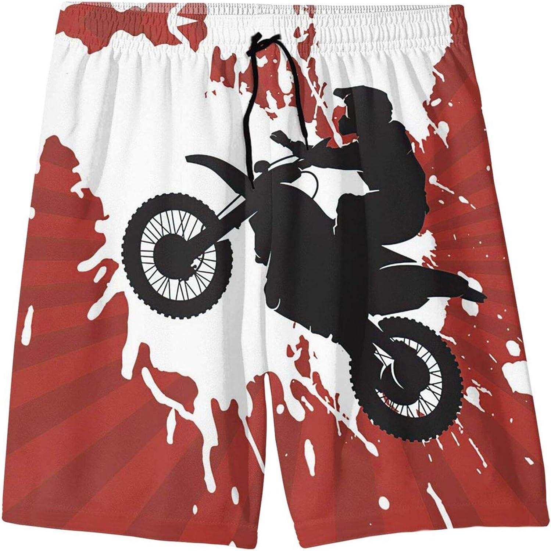 MTJJ Got Dirt Bike Racing Boys Swim Trunks,Quick Dry UPF 50+ Beach Swim Trunk,Boardshort