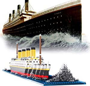 Micro Mini Blocks Titanic Model Building Set with 2 Figure, 1872 Piece Mini Bricks Toy, Gift for Adults and Kids