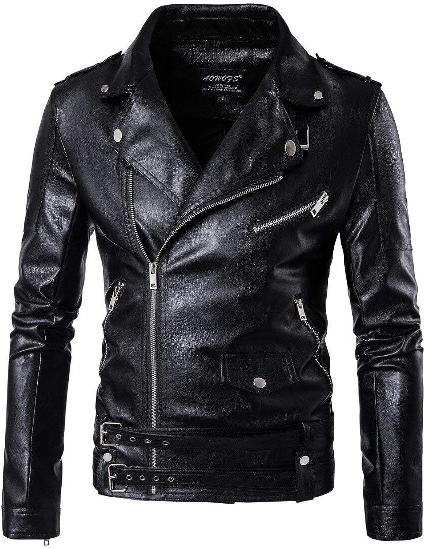 SELX Men's Casual Multi Zipper Slim Faux Leather Motorcycle Jacket Coat