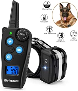 Fittidoll Dog Training Collar, Rechargeable Dog Shock Collar with Beep, Vibration and 1~100 Shock Levels Dog Training Set, 60% Longer Remote Range, 100% Waterproof Training Collar for Dogs Small Mediu