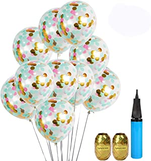 """UTOPP 20 Pack Unicorn Confetti Balloons Tiffany Blue Pink and Gold 12"""" Clear Balloons Aqua Blue Gold Confetti Party Suppli..."""